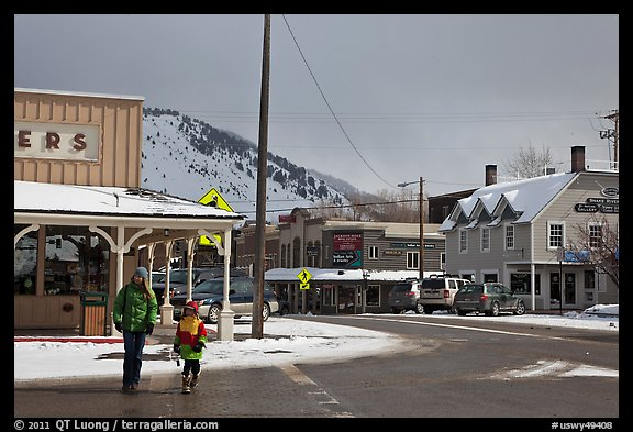 Downtown Jackson streets in winter. Jackson, Wyoming, USA (color)