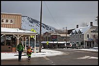 Downtown Jackson streets in winter. Jackson, Wyoming, USA ( color)