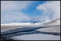 Snowy valley with stream, National Elk Refuge. Jackson, Wyoming, USA (color)