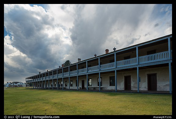 Barracks and storm clouds. Fort Laramie National Historical Site, Wyoming, USA (color)