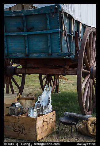 Pionneer wagon and camp gear. Fort Laramie National Historical Site, Wyoming, USA (color)