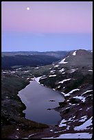 Lake and moon, dusk, Beartooth Range, Shoshone National Forest. Wyoming, USA (color)