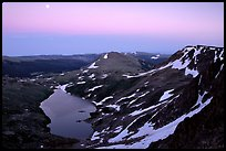 Alpine lake at dusk, Beartooth Mountains, Shoshone National Forest. Wyoming, USA
