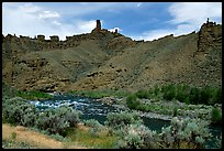 Shoshone River and rock Chimneys, Shoshone National Forest. Wyoming, USA (color)