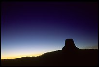 Profile of volcanic monolith at dusk,  Devils Tower National Monument. Wyoming, USA (color)