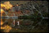 Fly fishermen, Snake River. Wyoming, USA (color)