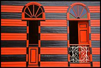 Red window shutters and striped walls, Parc De Bombas, Ponce. Puerto Rico ( color)