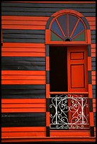 Window with red  shutters and striped walls,  Parc De Bombas, Ponce. Puerto Rico ( color)