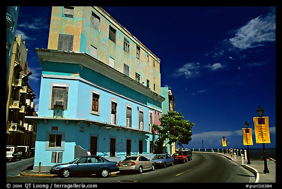 Multi-story building painted with pastel colors, old town. San Juan, Puerto Rico (color)
