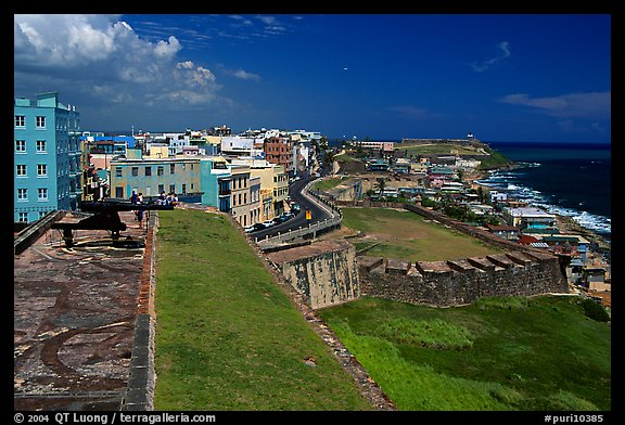 Street and El Morro Fortress. San Juan, Puerto Rico (color)