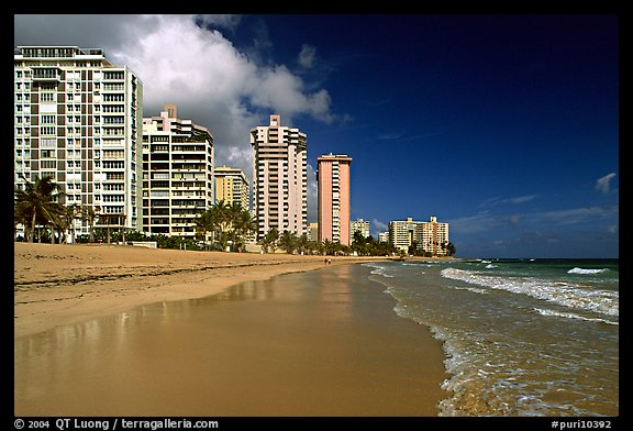 Beach and waterfront, new town. San Juan, Puerto Rico (color)