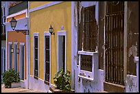 Row of houses painted in bright colors. San Juan, Puerto Rico ( color)