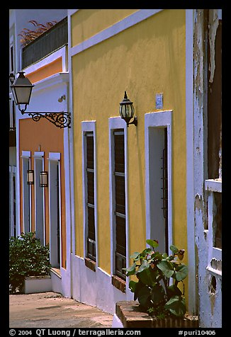 Row of houses painted in bright colors. San Juan, Puerto Rico (color)