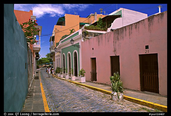 Cobblestone street and colorful houses, old town. San Juan, Puerto Rico (color)