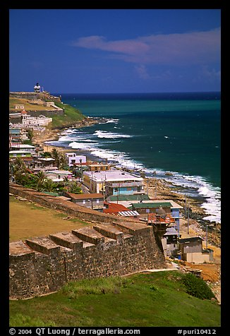 Coast seen from the walls of Fort San Felipe del Morro Fortress. San Juan, Puerto Rico (color)
