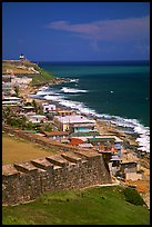 Coast seen from the walls of Fort San Felipe del Morro Fortress. San Juan, Puerto Rico