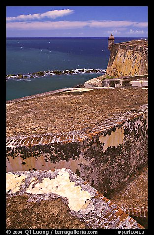 Thick defensive walls of El Morro Fortress. San Juan, Puerto Rico (color)
