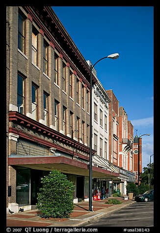 Sidewalk and historic downtown buildings. Selma, Alabama, USA (color)