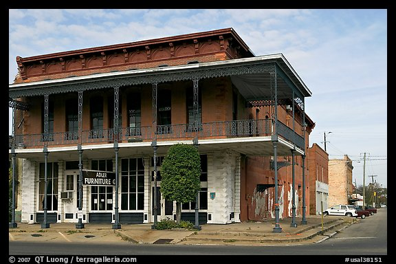 Historic brick building with balcony. Selma, Alabama, USA (color)