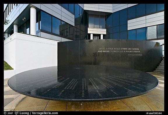 Table with names of 40 people who gave lives for racial equity, Civil Rights Memorial. Montgomery, Alabama, USA (color)