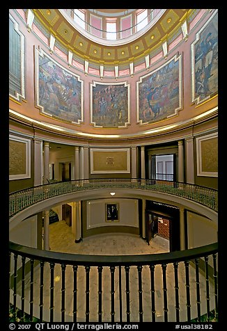 Paintings illustrating the state history below the dome of the capitol. Montgomery, Alabama, USA (color)