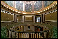 Rotonda below the dome with paintings of historical events. Montgomery, Alabama, USA (color)
