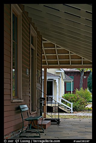 Porch, bench, and buildings in Old Alabama Town. Montgomery, Alabama, USA (color)