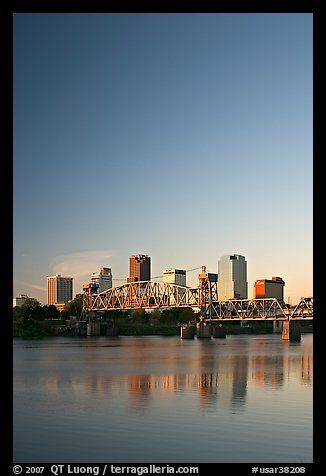 Downtown skyline and Arkansas River at sunrise. Little Rock, Arkansas, USA (color)