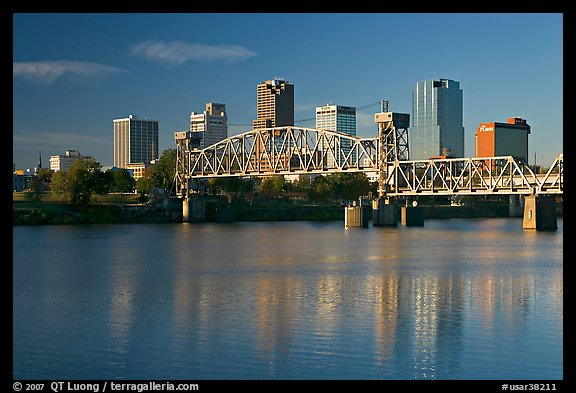 Arkansas River and skyline, early morning. Little Rock, Arkansas, USA (color)