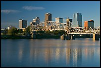 Arkansas River and skyline, early morning. Little Rock, Arkansas, USA