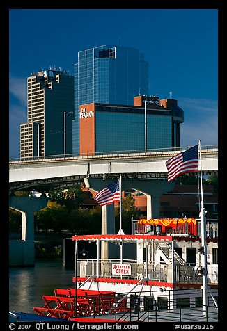 Riverboat and skyline. Little Rock, Arkansas, USA (color)