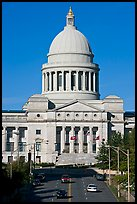Arkansas State Capitol and street. Little Rock, Arkansas, USA