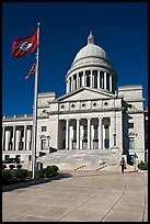 Arkansas Capitol with woman carrying briefcase. Little Rock, Arkansas, USA ( color)
