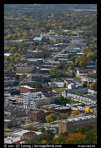 City main street seen from above. Hot Springs, Arkansas, USA (color)