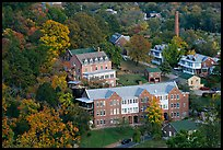 Historic buildings and smokestack from above. Hot Springs, Arkansas, USA (color)