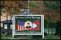 Welcome sign featuring Bill Clinton. Hot Springs, Arkansas, USA ( color)