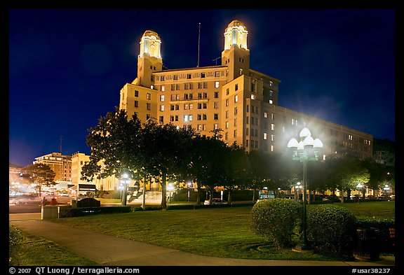 Historic hotel by night. Hot Springs, Arkansas, USA (color)