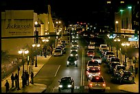 Central avenue with lots of cars and pedestrican on street. Hot Springs, Arkansas, USA (color)