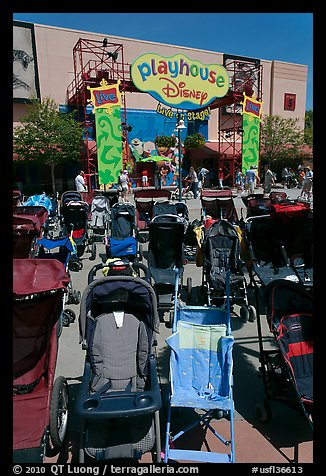 Stroller parking. Orlando, Florida, USA (color)