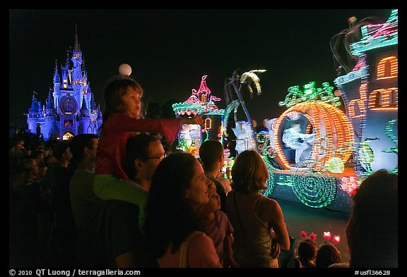 Main Street Electrical parade, Walt Disney World. Orlando, Florida, USA (color)