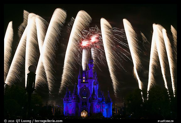 Cinderella Castle with fireworks. Orlando, Florida, USA