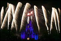 Cinderella Castle with fireworks. Orlando, Florida, USA (color)