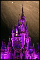 Illuminated Cinderella Castle, fireworks. Orlando, Florida, USA (color)