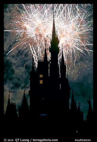 Cinderella Castle at night with fireworks in sky. Orlando, Florida, USA
