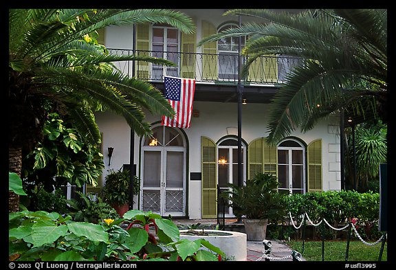 Facade of Hemingway's house. Key West, Florida, USA (color)