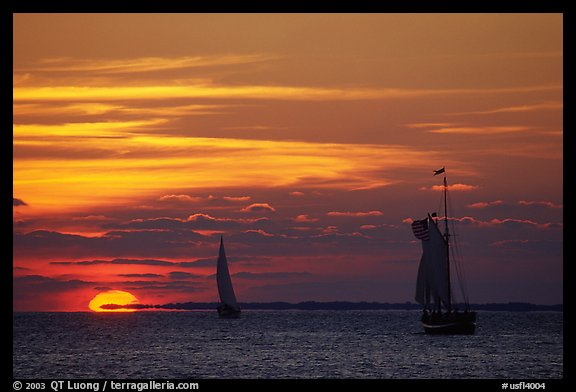Sailboats and sun, sunset. Key West, Florida, USA (color)