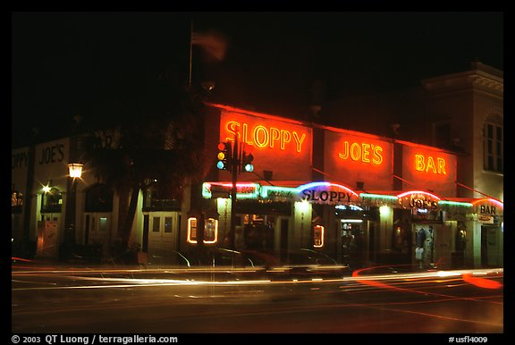 Sloppy Joe bar by night. Key West, Florida, USA (color)