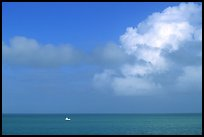 Boat on turquoise waters, Floriday Bay. The Keys, Florida, USA (color)