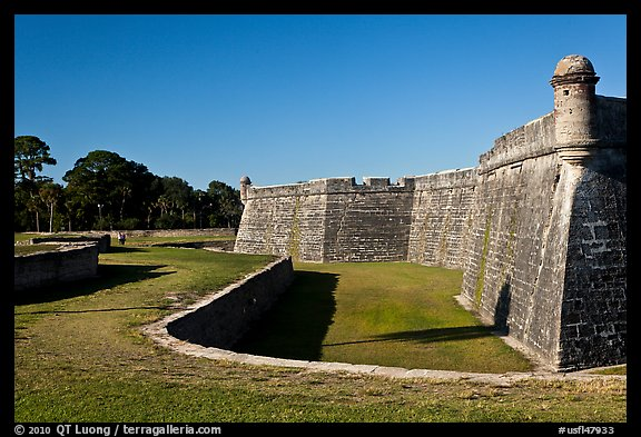 Coquina walls of historic fort, Castillo de San Marcos National Monument. St Augustine, Florida, USA (color)