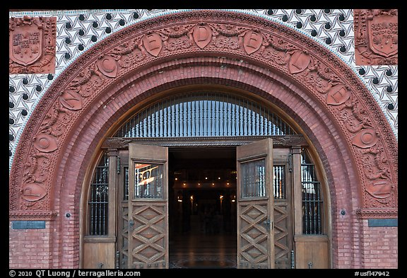 Spanish renaissance style archway, Flagler College. St Augustine, Florida, USA (color)